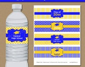 DOWNLOADABLE Graduation Water Bottle Labels, Graduation Party Decor, Graduation Party Idea, Water Bottle Label Template Royal Blue Yellow G4