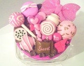 Pink Kawaii cookie jar with lollipops, macaroon, fondants, bling bow, ice cream scoops glass jar use for hair accessories, candy & more