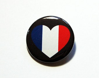 France Pin, Pinback buttons, Vive la France, Bastille Day, Lapel Pin, I Love France, French Flag Pin, France Heart Pin, Country Pin (5767)