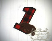 Lumberjack birthday number 1, boy embroidered woodland iron on applique, buffalo plaid birthday number 1 iron on patch, birthday number one