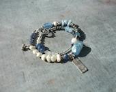 Artisan, 2 Strand, Double, Blue, Gemstone, Charm, Bracelet