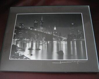 New York City Twin Towers Skyline Art Photo - Black and White Night Cityscape