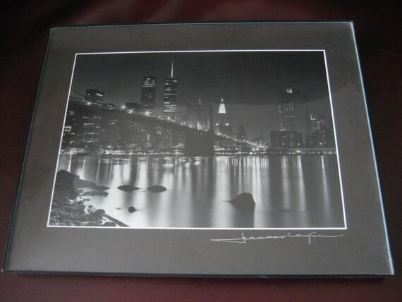 new york city twin towers skyline art photo black and white