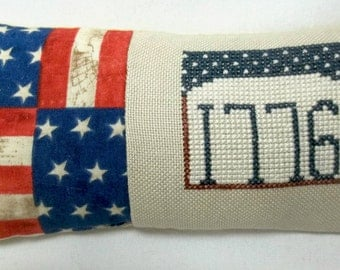 Patriotic Mini Pillow Cross Stitch Shelf Pillow Independence Day July 4