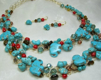Turquoise Elephant Wire Crochet Necklace Set, crocheted bead necklace, handmade beaded jewelry