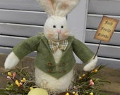 Primitive Rabbit Bunny Easter Spring Decoration with Green Coat