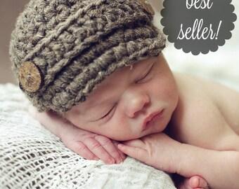 Newsboy Hat, Newborn Photo Prop, Baby Boys Hat, Newborn Hat, Newborn Boy, Newborn Boy Hat, Baby Boy, Baby Shower, Baby Boy Hat, Crochet Hat