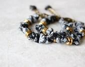 SALE 30% OFF - Snowflake Obsidian Bracelet, Black Stone Bracelet