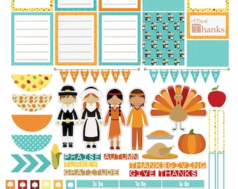 Thanksgiving Autumn Days Printable Planner Stickers #1Orange, Teal. Yellow Fall Colors November