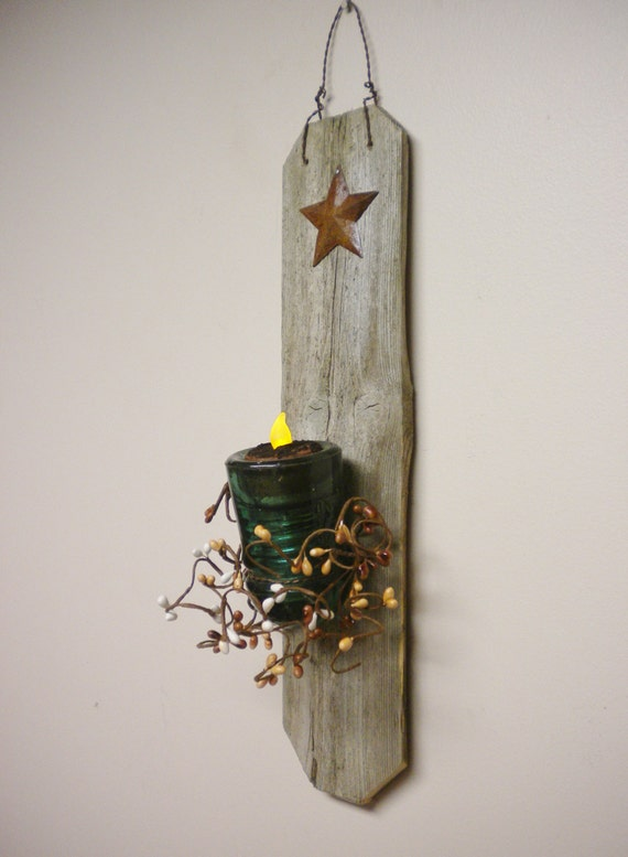 Glass insulator candle holder primitive wall sconces for Insulator candle holder