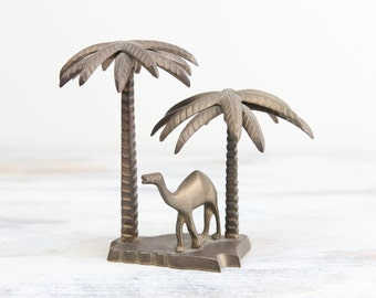 Vintage Brass Oasis, Miniature Palm trees and camel