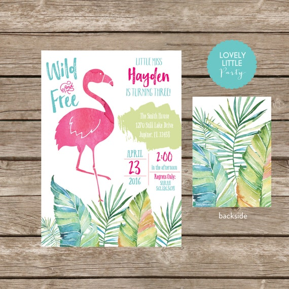 Flamingo Birthday Invitation - DIY Printable or Printed
