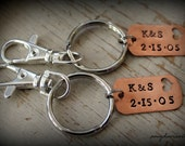 Custom Keychain Set, His & Hers, Personalized Key Chains, Handstamped Dog Tag Keychains, Couples Keychains, Anniversary, Initials, Wedding