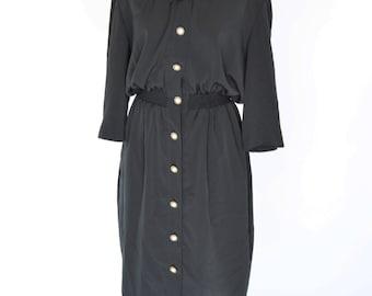 Clearance- 1980's Black Secretary Dress- Short Sleeve shirt dress- Button up retro dress- ladies size medium