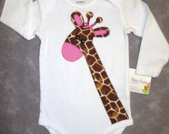 Giraffe bodysuit Baby Girl - Different sizes & colors to choose from - Ready to mail