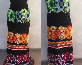 Vintage boho crochet yarn skirt or strapless long dress granny squares sz M