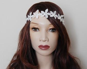 Ivory floral pearl hippy headband
