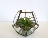 Vintage Brass Glass Display Curio Box Mexico