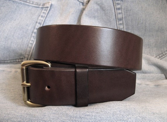 s brown leather belt brass buckle heavy by