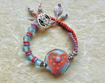Bracelet, blue orange bracelet, heart bracelet UK shop, lampwork bead bracelet