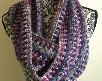Crochet Infinity Scarf in Pink, Purple & Blue