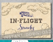 In Flight Snacks Sign - 5x7 inches - Vintage Airplane Baby Shower - Birthday - Food Sign - Baby Boy - Digital - Printable - INSTANT DOWNLOAD