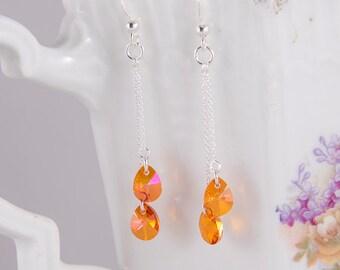 Dainty dangle Swarovski silver earrings Crystal Astral pink crystals, orange, pink, dramatic crystal teardrops, small delicate earrings
