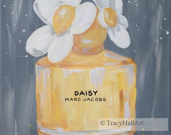 "Daisy Marc Jacobs Perfume Bottle Art Painting Fashion Art Original Canvas 11"" x 14"""