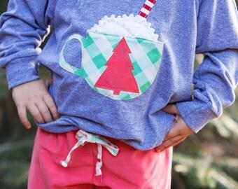 "Swanky Shank ""Cup O' Cheer"" Long Sleeved Raglan Pull-over; Christmas Shirt, Girls Hot Cocoa Shirt"