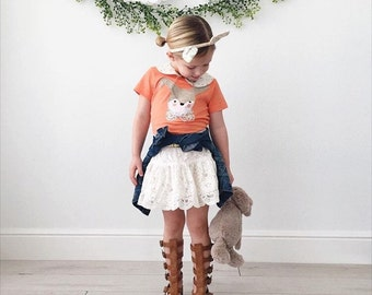 "Swanky Shank Girl's ""Woodland Bunny"" Short Sleeved Easter Tee"