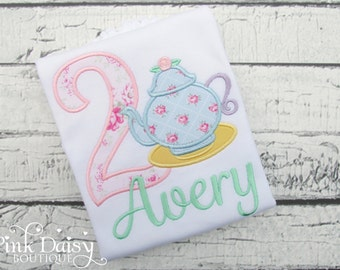 Birthday Shirt. Tea Party in Floral and Pastels. Personalized Birthday Shirt or Bodysuit. Shabby Floral Roses. Pink, Blue, Mint.