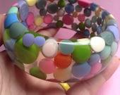 Large Sobral Resin Dot Bangle Bracelet, layaway, balls,  bubbles, pastel, resin bangle, Jackie Brazil, bubble bangle, Pop Art, egst, Greece