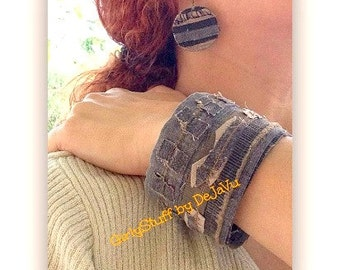 Denim Jean Bangle Bracelet & Earring set, recycled brown / beige denim jean, handmade one of a kind, made in Greece