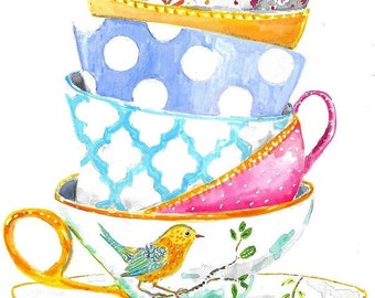 Still Life Kitchen Decor Art Print of Original Watercolor Painting -- Teacups with bird no. 9