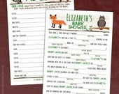 Woodland Creatures Baby Shower Game Ad Libs - Printable Or Printed - Boy / Girl / Gender Neutral