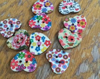 10 wooden heart buttons