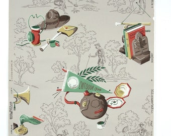 REMNANT of Vintage Wallpaper, Single 56 Inch Piece - Segmant of Childrens Wallpaper with Camping Boyscout Memorabilia Green Red Brown Gray