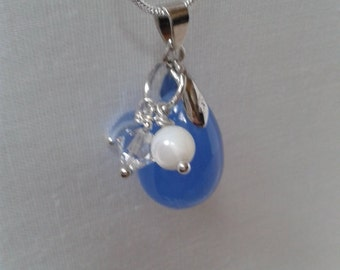 Wedding Necklace, Bridal Line Jewelry, Blue Opague Teardrop Glass Bead with Pearl, Crystal and Heart Charms and Silver Snake Chain Jewelry