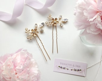 Secret Garden Floral Hair Pins - hand wired Swarovski crystals and flowers - Set of Two