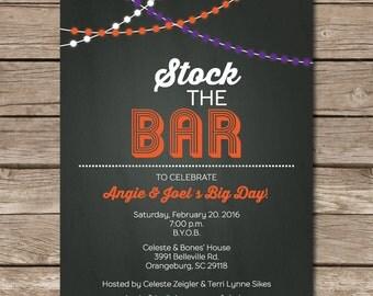 Stock The Bar Invitation Shower Wedding Love Chalkboard Printable Digital String Lights Party Marriage