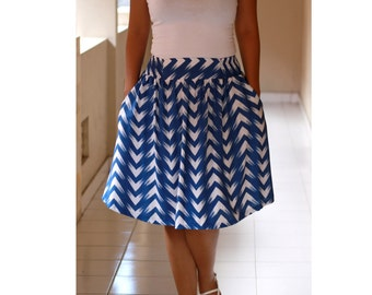 Blue Navy Skirt/ Chevron Skirts / Bridesmaids Skirts/ Summer Skirt/ Blue Chevron  Midi Skirt with Pockets
