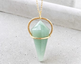 Gemstone Pendulum Necklace / long 14k gold vermeil + geometric green aventurine pendant
