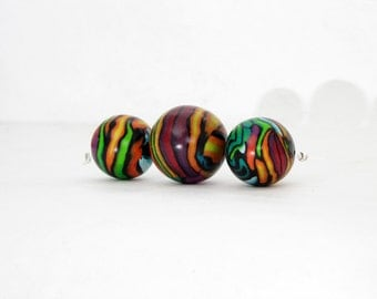 Beads like Hundertwasser, big Art beads from polymer clay, handmade in germany, fimo