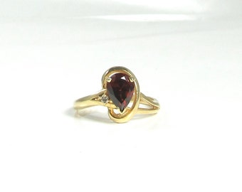 Garnet and Diamond Ring; Pear Shaped Garnet Ring; Pear Shaped Garnet; Yellow Gold Garnet Ring; Garnet and Diamond; Vintage Garnet Ring