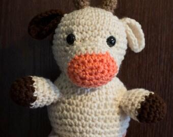 COW custom order stuffed animal- toddler baby child girls boys- safety eyes yarn play fun birthday