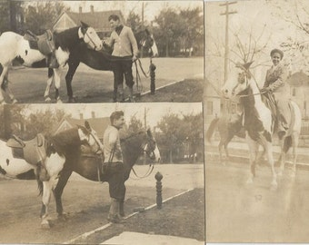 Our Romance - Antique 1910s Couple and Horses Silver Gelatin Print Photographs, Set of Three