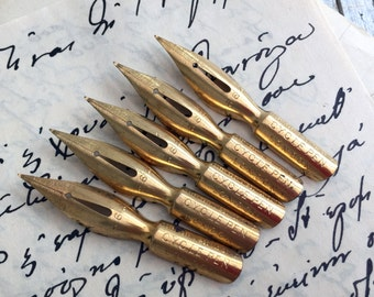 Cycle Pen nib from London by Joseph Egerton & Son. Listing is for 5 beautiful gilt vintage dip pen nibs. English nibs.