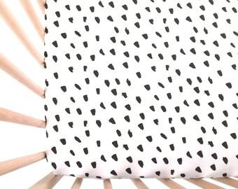 Crib Sheet Painted Black Dots. Fitted Crib Sheet. Baby Bedding. Crib Bedding. Crib Sheets. Black Dot Crib Sheet.