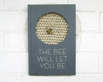 The Bee will let you Be - Gold Bee Paper Collage - Bee Honeycomb Sculpture Recycled Book Art Embroidered Quote Art Grey Wall Decor Honeybee