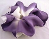Silk hair scrunchie tie made with vintage kimono silk - lavender purple and white